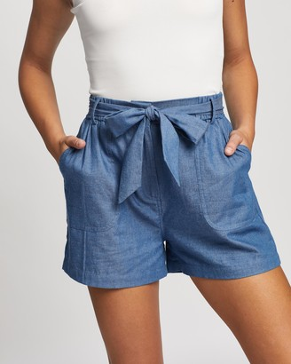 Atmos & Here Atmos&Here - Women's Blue High-Waisted - Eimear Chambray Shorts - Size 6 at The Iconic