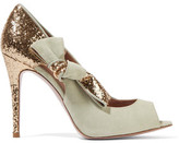 RED Valentino Embellished Glittered And Smooth Suede Pumps