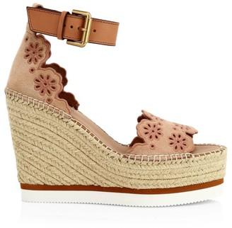 See by Chloe Floral Laser-Cut Suede Platform Espadrille Wedge Sandals