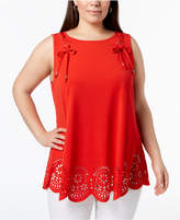 Belldini Plus Size Tie-Accented Laser Cut Tunic Top