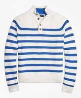 Brooks Brothers Supima® Cotton Stripe Button Mocneck Sweater