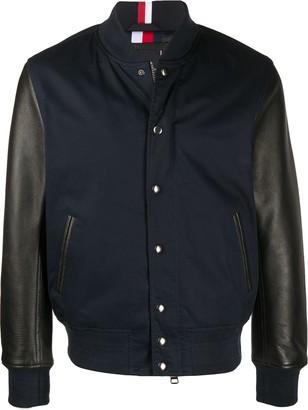 Tommy Hilfiger Leather Sleeve Bomber Jacket