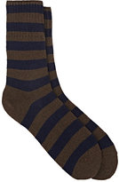 Barneys New York Men's Striped Stockinette-Stitched Mid-Calf Socks-BROWN, NAVY