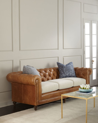 Clayton Massoud Tufted Leather Sofa 94""