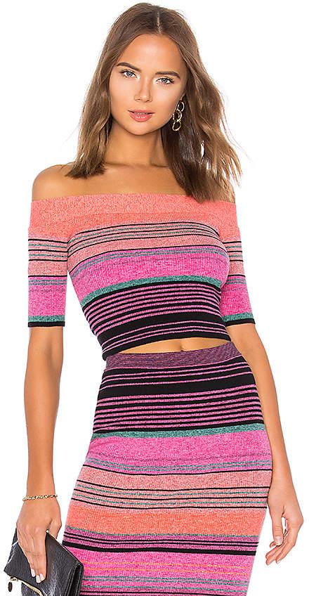 BCBGMAXAZRIA Striped Knit Crop Top