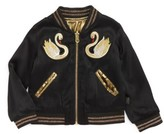 Little Marc Jacobs Girl's Reversible Swan & Star Bomber Jacket