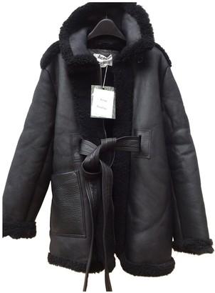 Acne Studios Black Leather Coat for Women