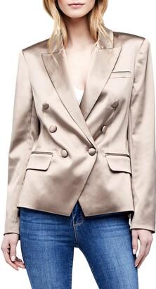 L'Agence Kenzie Satin Double Breasted Blazer