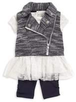 Baby Girl Three-Piece Mini Moto Vest, Tunic & Leggings Set