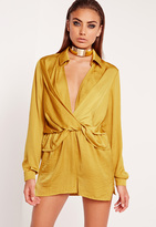 Missguided Satin Wrap Romper Chartreuse