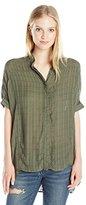 UNIONBAY Women's Edison Drapey Window Pane Short Sleeve Woven Shirt