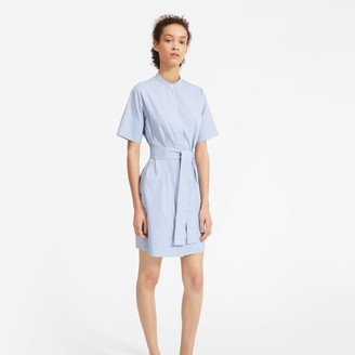 Everlane The Cotton Collarless Belted Shirtdress