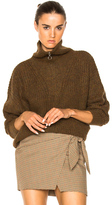 Etoile Isabel Marant Declan Grunge Knit Turtleneck Sweater in Brown.