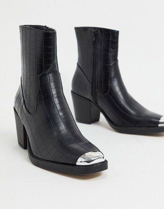 Truffle Collection western mid heel ankle boots in black