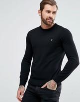 Farah Mullen Slim Fit Merino Sweater in Black