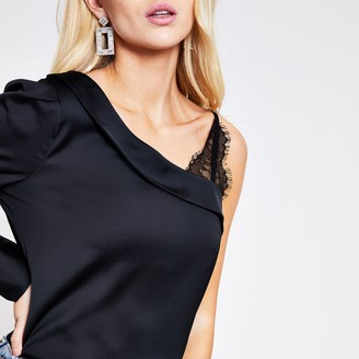 River Island Womens Black one sleeve lace satin blouse