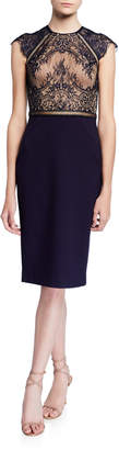 Catherine Deane Lace-Ponte Cocktail Dress with Ladder Trim