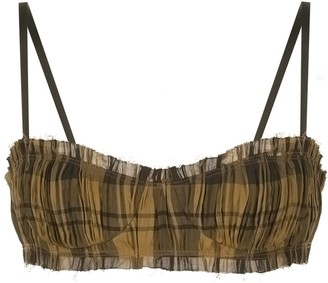 KHAITE Indira check-pattern ruched bra top