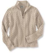 L.L. Bean Women's Double L Cotton Sweater, Zip-Front Cable Cardigan