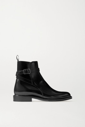 Saint Laurent Army Glossed-leather Ankle Boots - Black