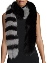 Charlotte Simone Candy Cane Fox Fur Scarf, Black/Gray
