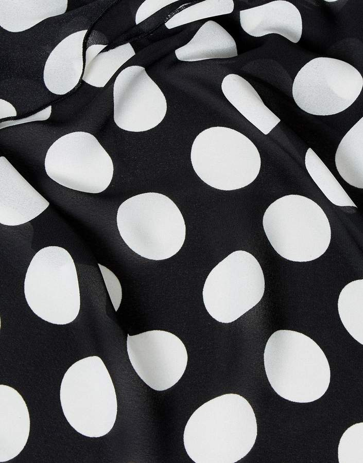 Reclaimed Vintage Inspired Sarong In Black Polka Dots
