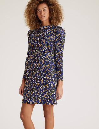 Marks and Spencer Animal Print Puff Sleeve Mini Shift Dress