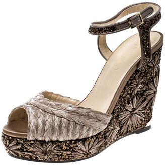 Jimmy Choo Light Mocha Raffia and Embroidered Coarse Glitter Perla Peep Toe Wedge Sandals Size 40
