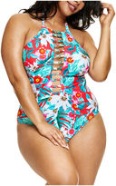 Fashion to Figure Martinique Floral Floral One Piece Swimsuit-Plus