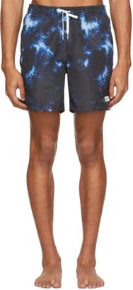 Bather Black and Blue Shibori Swim Shorts