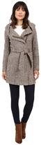 Calvin Klein Tweed Belted Wool with Oversize Hood Collar