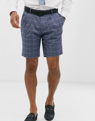 ASOS DESIGN slim suit shorts in linen blue check