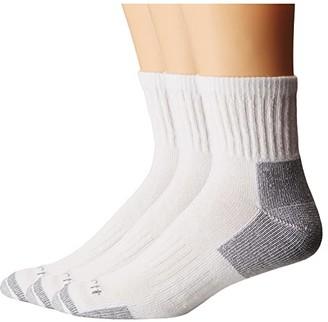 Carhartt Cotton Quarter Work Socks 3-Pack (White) Men's Quarter Length Socks Shoes