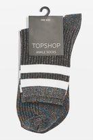 Stripe glitter ankle socks