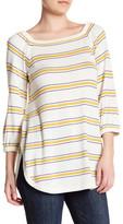 Cullen Stripe Off Shoulder Silk Blend Bardot Pullover
