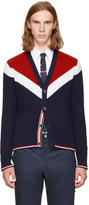 Thom Browne Tricolor Saddle Sleeve V-Neck Cardigan