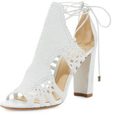 Alexandre Birman Doria Woven Leather Block-Heel Sandal, White