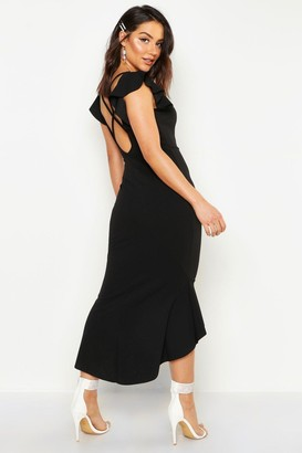 boohoo Frill Detail Strappy Back Fishtail Midi Dress