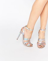 Paper Dolls Holly Silver Stripe Triple Strap Heeled Sandals