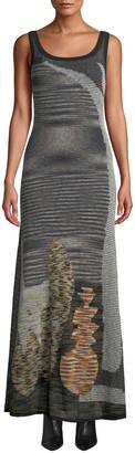 Missoni Scoop-Neck Sleeveless Animal-Intarsia Semisheer Mohair-Alpaca Long Dress