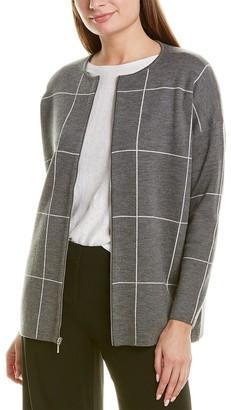 Eileen Fisher Zip-Up Wool Cardigan