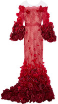 Marchesa Off-the-shoulder Floral-appliquéd Chantilly Lace Gown - Claret