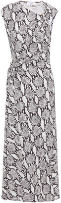 A.L.C. Ruched Snake-print Cady Midi Dress