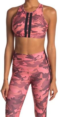 Wear It To Heart Camo Print High Neck Sports Bra