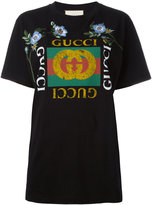 Gucci floral embroidered logo T-shirt