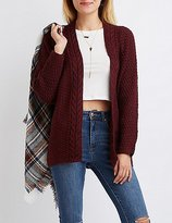 Charlotte Russe Cable Knit Collar Open Cardigan