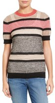 Petite Women's Halogen Stripe Open Stitch Sweater