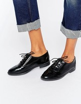 Daisy Street Lace Up Black Flat Shoes