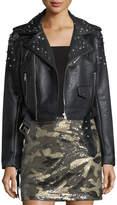 Romeo & Juliet Couture Studded Fringe Faux-Leather Moto Jacket