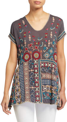Johnny Was Madhuri Embroidered Short-Sleeve Tunic